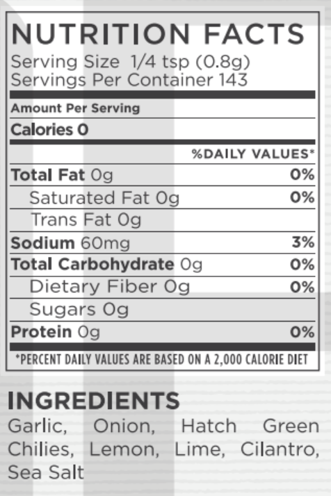 Chili Verde Nutritional Facts