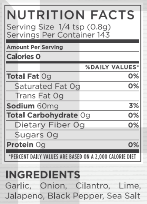 Cilantro Lime Jalapeño Nutritional Facts