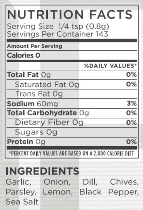 Dill Ranch Nutritional Facts