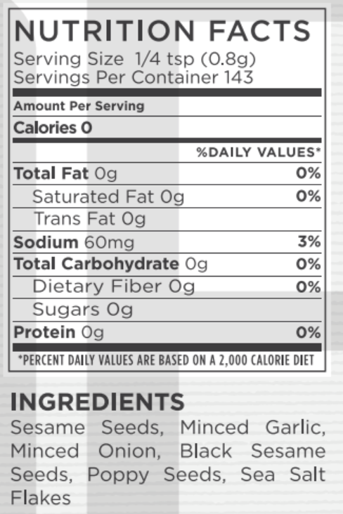Everything Bagel Nutritional Facts