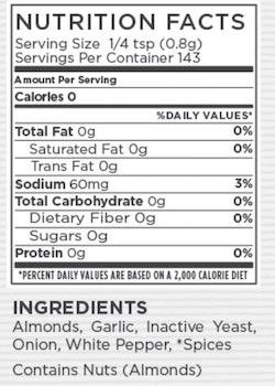 Garlic Cheddar Nutritional Facts