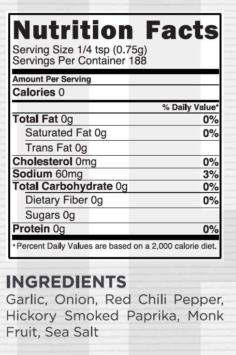 Smoky BBQ Nutritional Facts
